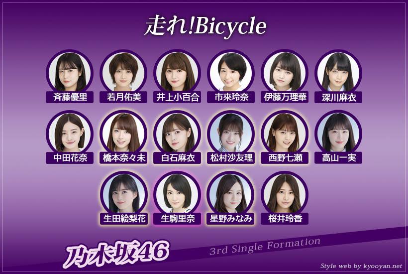 乃木坂46 3rd「走れ!Bicycle」選抜フォーメーション