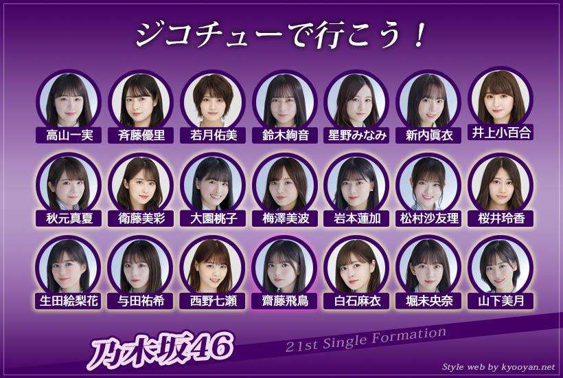 乃木坂46 21st「ジコチューで行こう!」選抜フォーメーション